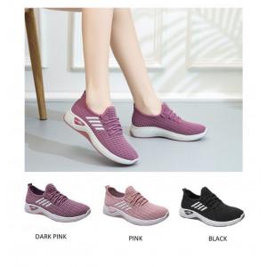 SH41 Sepatu Wanita Nylon Sneakers Casual 4 Strip Import
