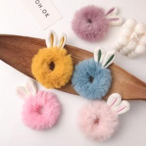 IK128 Ikat Rambut Bulu Pompom Rabbit Hair Accessories