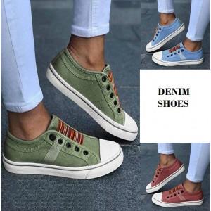 SH16 Sepatu Denim Canvas Pria dan Wanita Cozy Sneakers Shoes
