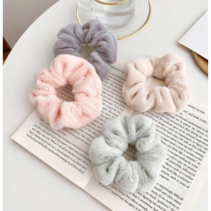 Ik90 Ikat Rambut Scrunchie Rabbit Hair Bulu Halus Hair Band