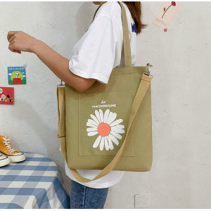 TS134 Tas Canvas Wanita One Daisy Flower Sling Bag Tote Bag