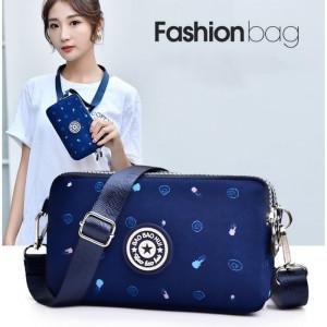 TS129 Tas Selempang Mini Wanita BBH 3 Ruang Nylon Waterproof Sling bag