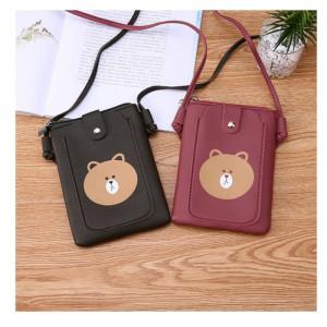 TS106 Tas Selempang Wanita PU Super Cute Bear Sling Bag