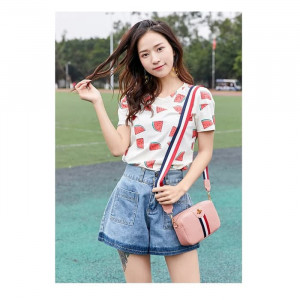 TS103 Korea Colorful Strip Bee Sling Bag Tas Selempang Wanita