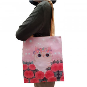 TC58 Civeto Totebag Flower Cat Printed Women Canvas Tote Bag