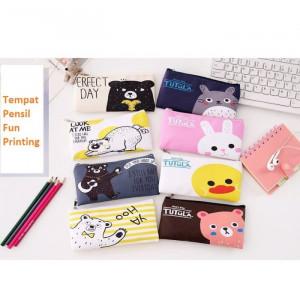 TP0056 Tempat Pensil Fun Printing 8 Design Pencil Case  / Tempat Kosmetik