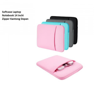 SCL04 Softcase Laptop Notebook 14 inchi Zipper Kantong Depan