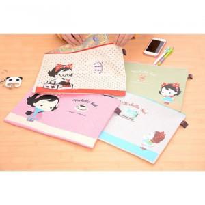 PF16 Michelle Girl Portable A4 file Storage Pouch Bag Tempat Buku