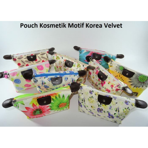 (Korea Velvet) Pouch Tas Kosmetik Bag Make Up Body Lotion Aksesoris