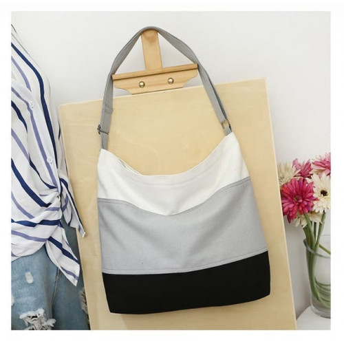 TS56 Korea Origin Solid color Canvas Tote Shoulder bag / Tas selempang