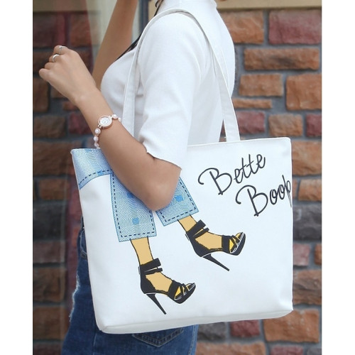 Big Printed Canvas Tote Bag / Tas Kanvas Motif