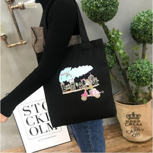 TC02 Canvas Tote Cartoon / Tas Selempang