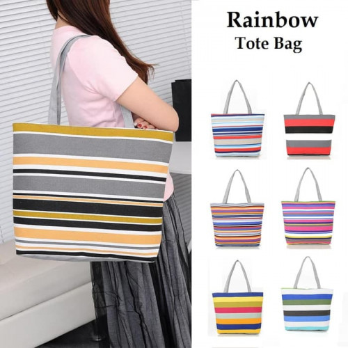 TC15 Rainbow Canvas Tote Bag / Tas Kanvas Pelangi