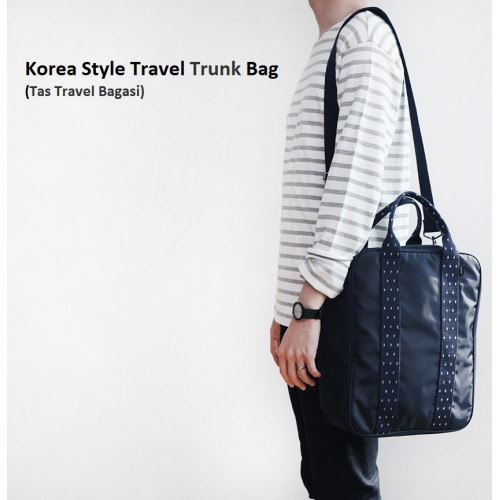 Korea Style Travel Trunk Bag / Tas Selempang / Tas Bagasi - Navy